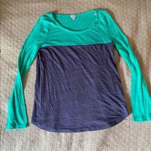 Two tone soft long sleeve shirt